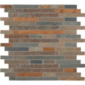 MS International Rustic Creek Interlocking 12 in. x 12 in. Metal/Stone Mesh-Mounted Mosaic Blend Wall Tile