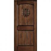 Main Door Rustic Mahogany Type Prefinished Distressed V-Groove Solid Wood Speakeasy Entry Door Slab