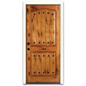 Steves & Sons Rustic 2-Panel Plank Stained Knotty Alder Wood Entry Door