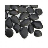 Splashback Tile 3D Pebble Rock Jet Black Stacked Marble Mosaic Floor and Wall Tile - 6 in. x 6 in. Tile Sample