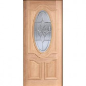 Main Door Mahogany Type Unfinished Beveled Patina 3/4 Oval Glass Solid Wood Entry Door Slab