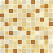 MS International Honey Onyx Caramel Mosaic 1 in. x 1 in. Glass-Stone Floor And Wall Tile