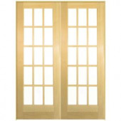 Smooth 15 Lite Solid-Core Unfinished Pine Double Prehung Interior French Door