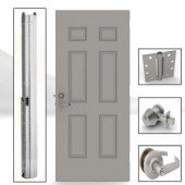 L.I.F Industries 36 in. x 80 in. 6-Panel Gray Left-Hand Security Door Unit with Knockdown Frame